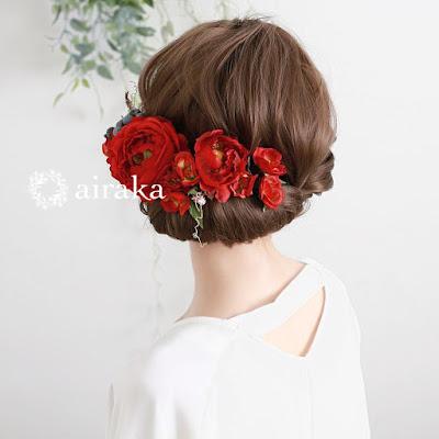 イングリッシュローズの髪飾り(赤)_ウェディングブーケと花髪飾りairaka