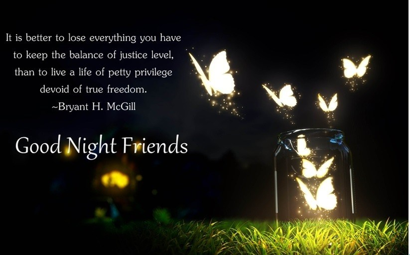 Beautiful Good Night Image with Quote for Friends