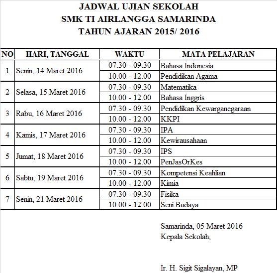 Smk Ti Airlangga Samarinda Jadwal Ujian Akhir Semester Kelas Xii Semester Genap Ta 2015 2016