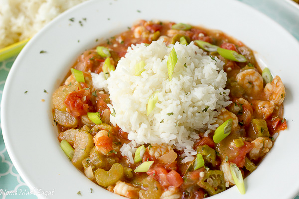 Seafood creole with shrimp and crab meat
