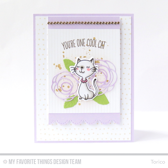 Cool Cat Card by Torico featuring the Distressed Patterns, Birdie Brown Cool Cat stamp set and Die-namics, Myriad Dot and Pinstripe Background stamps, Royal Leaves, Stitched Scallop Edges, and Lisa Johnson Designs Scribble Roses Overlay Die-namics #mftstamps