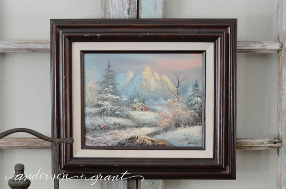 Hand painted snowy winter scene | www.andersonandgrant.com
