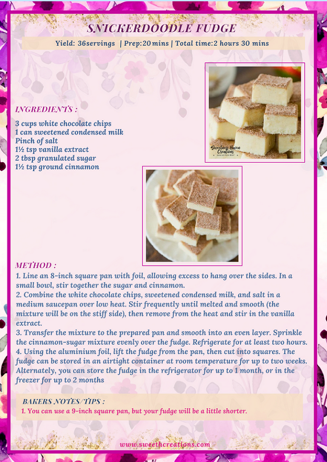 SNICKERDOODLE FUDGE RECIPE