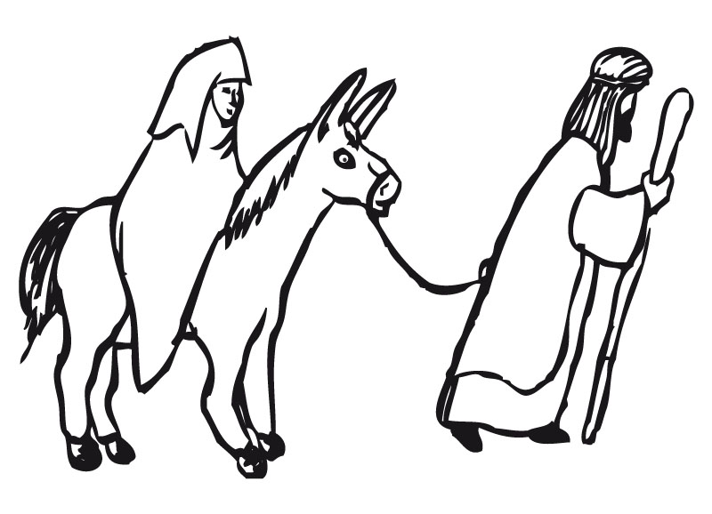Lujo Dibujo De Jesús En Un Burro Para Colorear Ornamento - Páginas ...