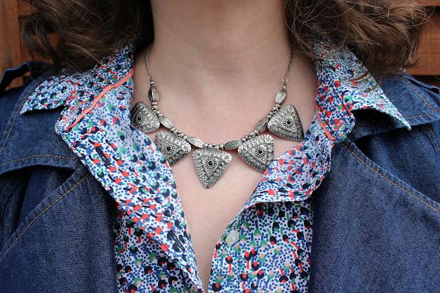 New Look Silver Necklace, Boden Shirt | Petite Silver Vixen