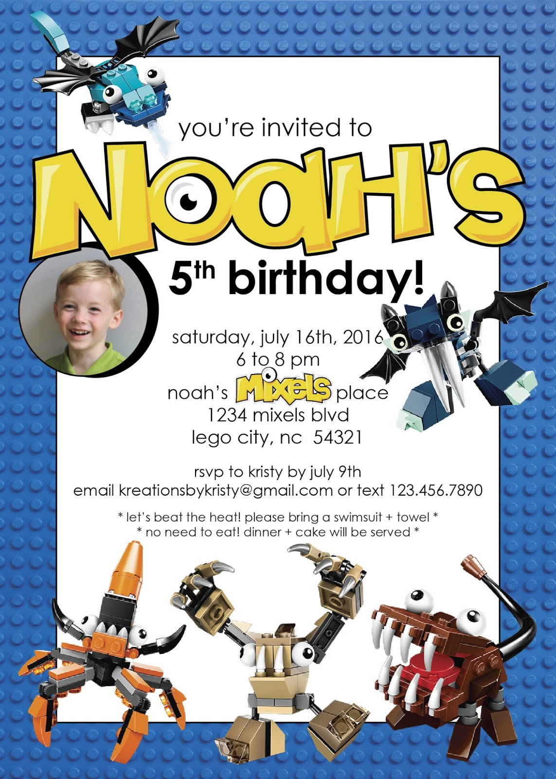 more than 9 to 5my life as Mom Noahs MixelsThemed 5th – Lego City Birthday Invitations