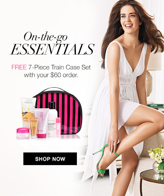 Get this FREE 7-piece Train Case gift set with your $60 Avon purchase! Click picture for Avon coupon code. #avonrep Shop https://jenbertram.avonrepresentative.com/