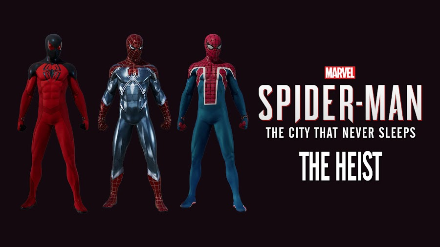 marvels spider man ps4 the heist dlc suits
