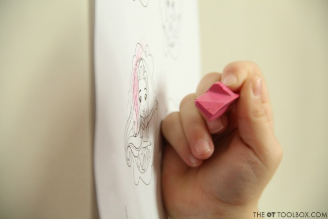 Kids can strengthen te fine motor skills they need for carryover of a pencil grasp to coloring.
