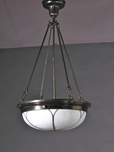 Antique Lighting Circa 1840 To 1940 Leaded Glass Inverted Dome Circa 1915