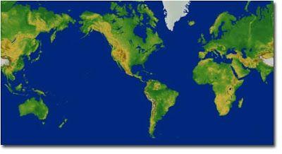 Planisferio. Mapa físico del mundo