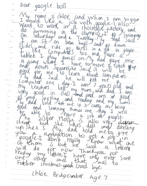 Letter from Chloe Bridgewater to Google