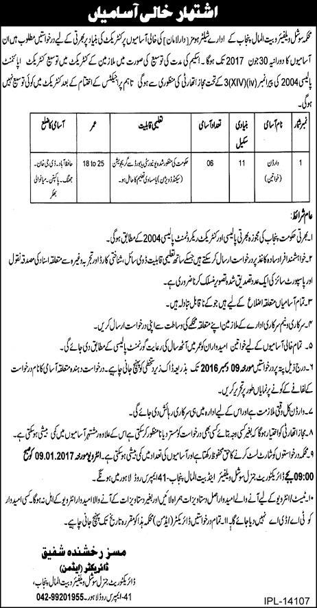 Female Wardon Jobs in Punjab social welfare