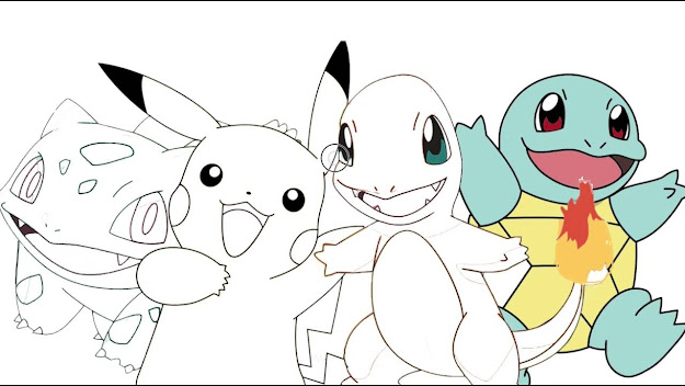 Pokemon  Pikachu Charmander Bulbasaur Squirtle   Coloring Page
