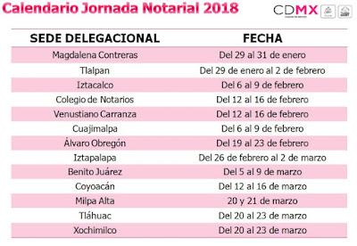 Calendario Jornada Notarial 2018 CDMX.