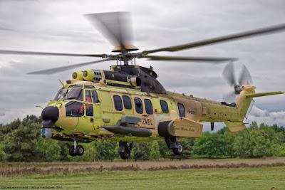 Airbus Helicopters H225M en pruebas de tiro del sistema HForce. (Foto: Airbus Helicopters)