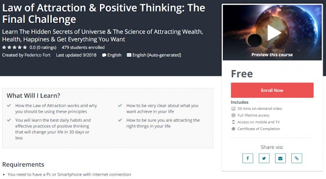 [100% Free] Law of Attraction & Positive Thinking: The Final Challenge