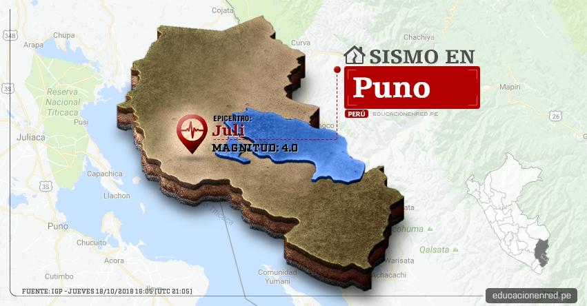 Temblor en Puno de magnitud 4.0 (Hoy Jueves 18 Octubre 2018) Sismo EPICENTRO Juli - Chucuito - IGP - www.igp.gob.pe