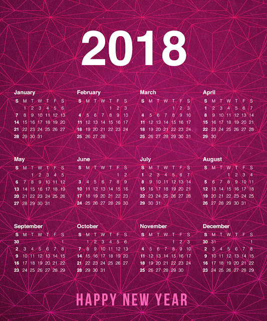 2018 Yearly Happy New Year Calendar