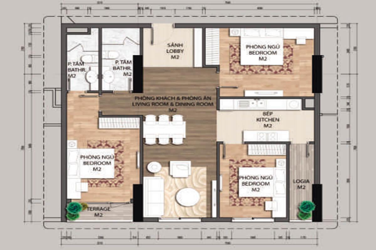 Mặt bằng căn hộ C3-3 phòng ngủ – 1127m2