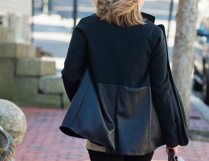 Jessica Faulkner leather blazer