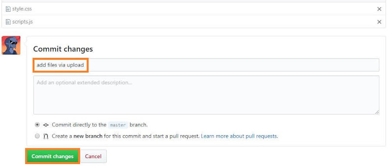 commit changes comentar cambios github