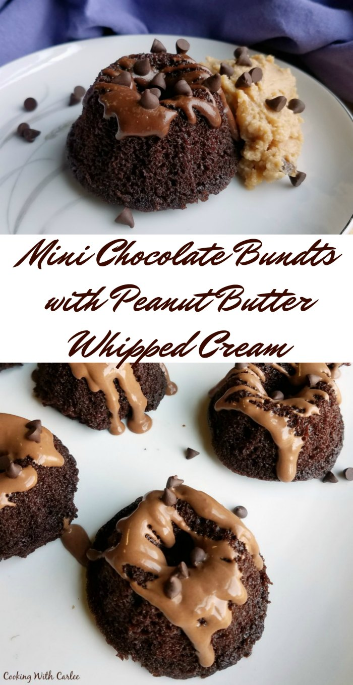 Mini Chocolate Bundt Cakes with Peanut Butter Whipped Cream