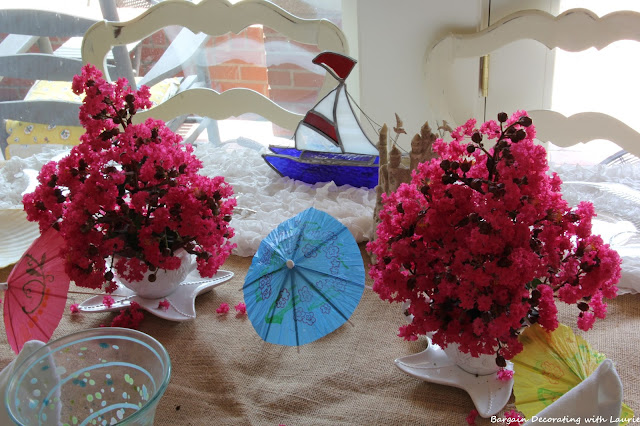 Beach Tablescape forTeen Girl's Birthday-Bargain Decorating with Laurie