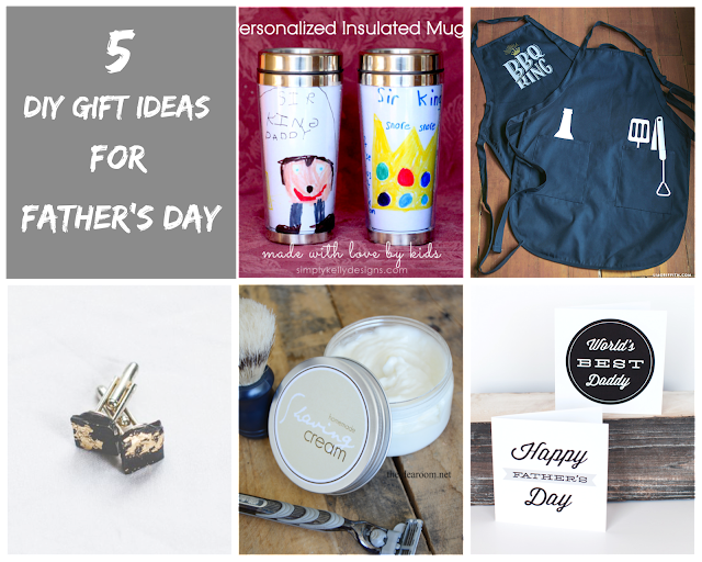 Ioanna's Notebook - 5 DIY gift ideas for Father's Day - Personalized insulated mugs - BBQ Apron - Gold leaf cufflinks - DIY shaving cream - Free printable cards