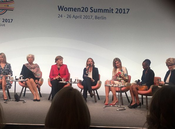 Queen Maxima, President Stephanie Bschorr, Ivanka Trump, Angela Merkel attend the W20 conference. Queen Maxima wore Natan Dress
