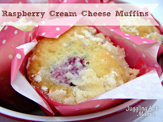 RASPBERRY CREAM CHEESE MUFFINS by: Juggling Act Mama