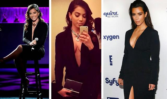 Anitta nas duas primeiras fotos e na última Kim Kardashian