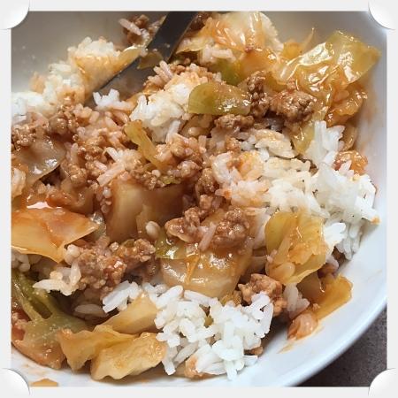 Cabbage Casserole over Rice