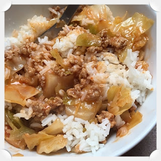 Cabbage Casserole over Rice