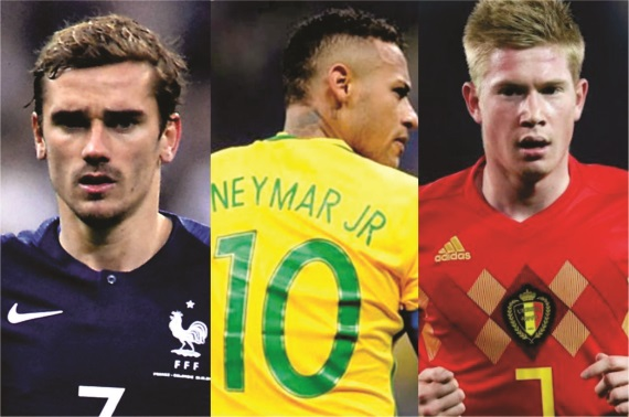 Antoine Griezmann, Neymar and Kevin De Bruyne will all be competing for the Adidas Golden Ball award