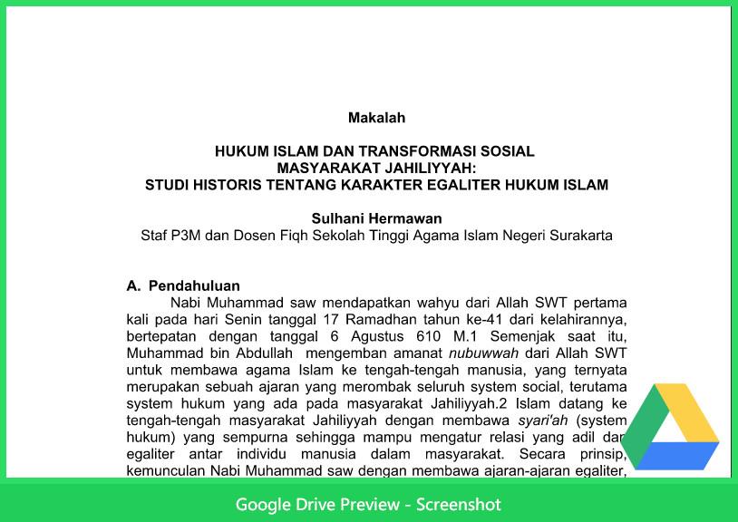 Contoh Makalah Hukum Tentang Islam Dan Transformasi Sosial