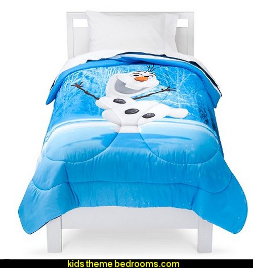 Disney® Frozen Olaf Comforter bedding  Frozen theme Elsa bedroom - Elsa theme bedroom ideas - princess Disney Frozen - Winter theme decorations -  Frozen room decorating ideas - Disney Frozen themed decor - Queen Elsa Frozen theme bedroom decor  - Disney Frozen bedroom decorating ideas - snow queen bedroom ideas