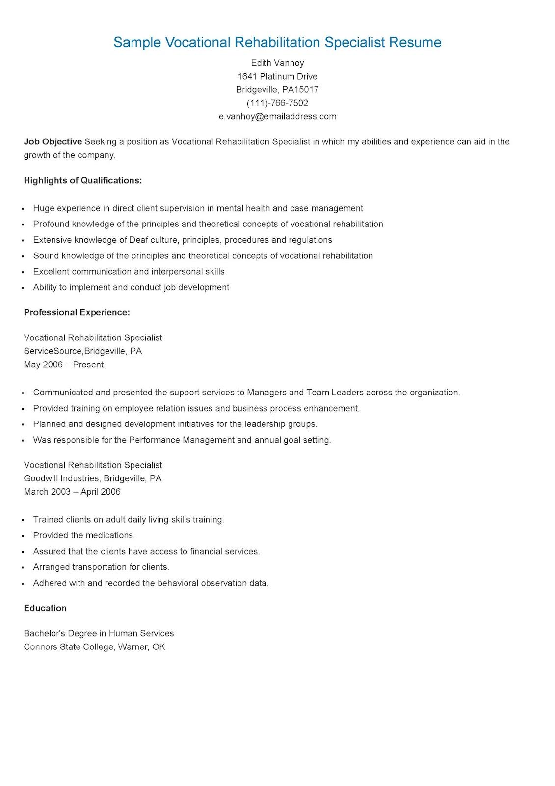 samples sample vocational rehabilitation specialist