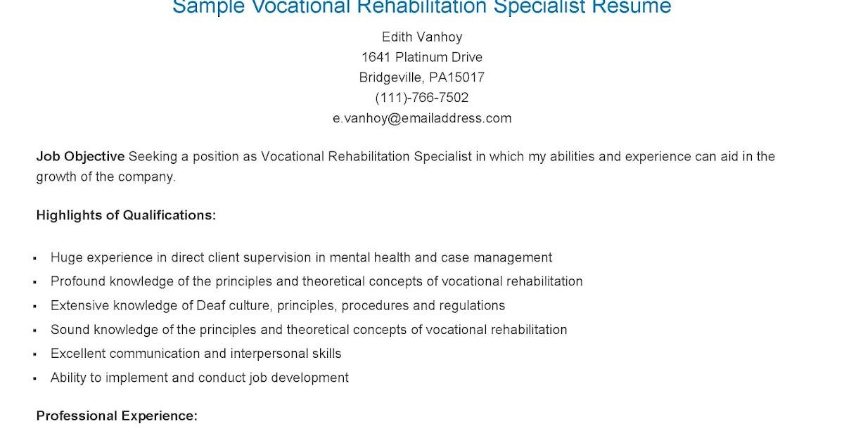 resume samples sample vocational rehabilitation