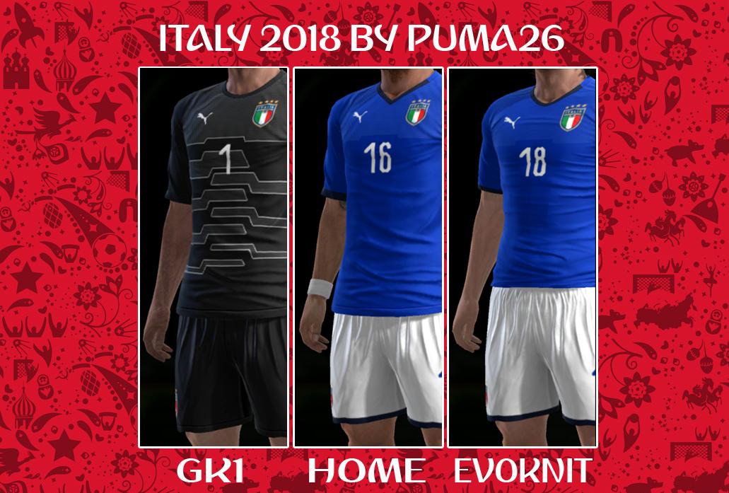 PES 2013 ITALY 2018 HOME & GK KITS BY PUMA26