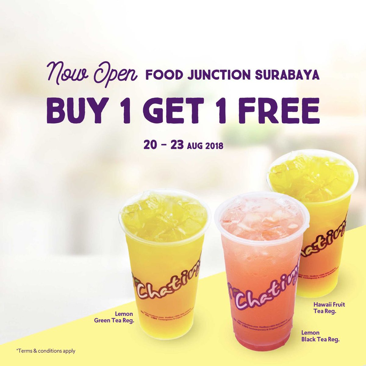 Chatime - Promo Buy Get 1 Free Opening Food Junction Surabaya (s.d 23 Agustus 2018)
