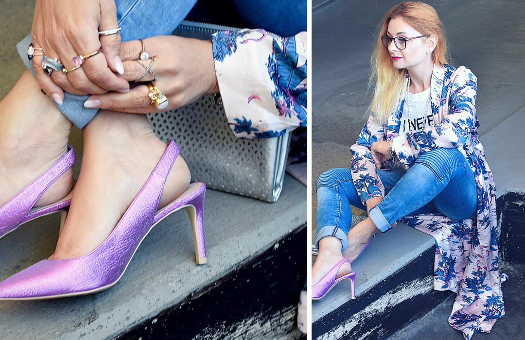 Kimono mit Blue Jeans und Pumps kombinieren, Streetstyle