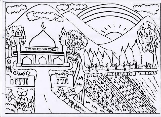 2. Gambar Masjid, Pelangi, Sawah Dan Pemandangan Gunung