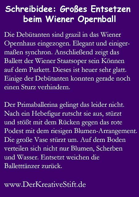 Schreibaufgabe: Großes Entsetzen beim Wiener Opernball