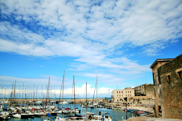 porto, barche, cielo, mare, nuvole
