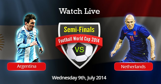 The last set of FIFA World Cup 2014 semifinal match features Argentina against the Netherlands on July 9, 2014 Live Stream ESPN Free online