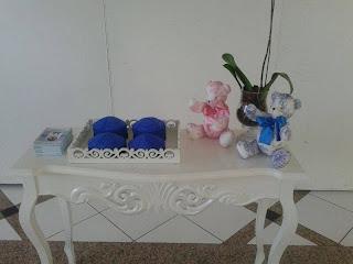 Ursinho de Pano para o batizado de Gêmeos em Toile de Jouy