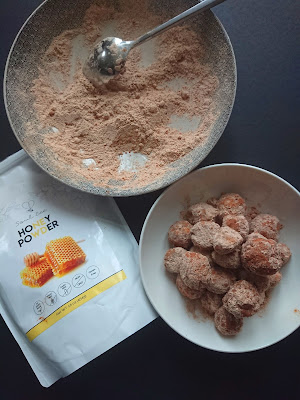showing Baked Churro Balls with Soulbee Honey powder