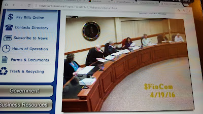 screen grab of the Finance Committee meeting 4/16/19