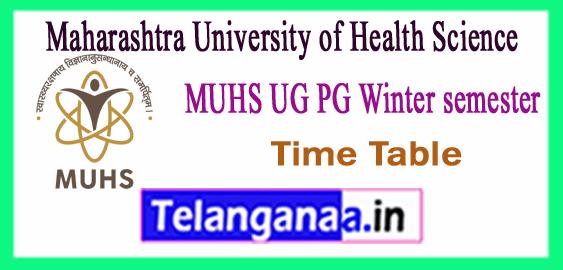 MUHS Maharashtra University of Health Sciences Nashik UG PG Winter Time Table 2017-18